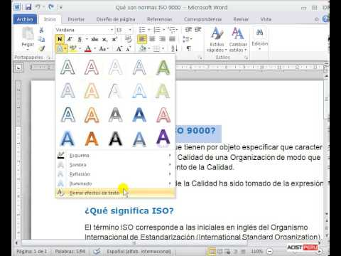 Curso a distancia de word lecci n 3 efecto de texto 6 for En word cual es el interlineado