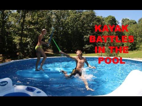 EPIC KAYAK BATTLES IN THE POOL!!!