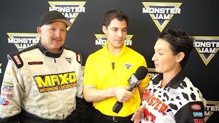 Monster Jam World Finals XVIII   Neil Elliott and Candice Jolly at Media Day