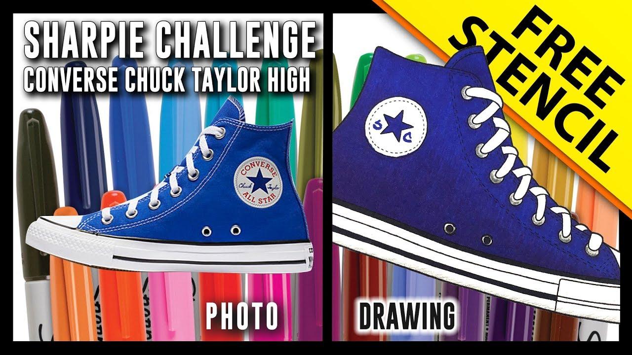 bebf58b95eaf Sharpie Challenge! Converse Chuck Taylor High w  FREE Stencil - YouTube