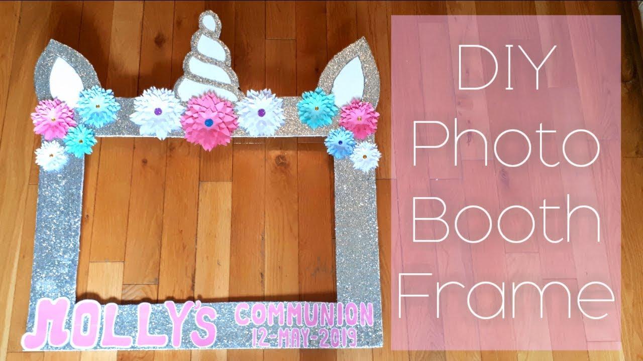 Diy Communion Photo Booth Frame Unicorn Photo Booth Frame Glitter And Flowers Photo Booth Frame