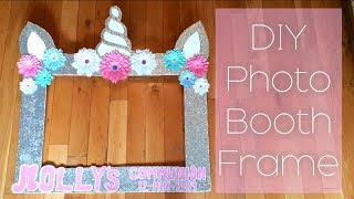 DIY Communion Photo Booth Frame/UNICORN photo booth frame/Glitter and Flowers photo booth frame