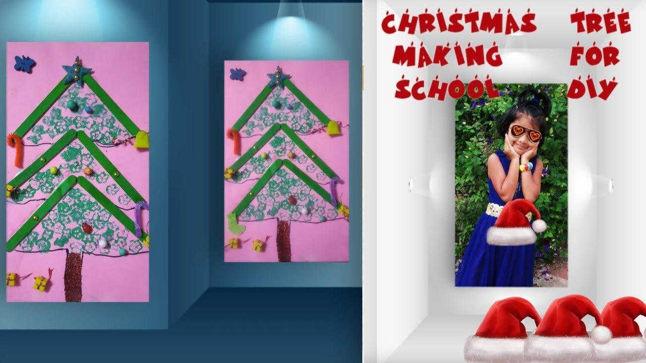 How to make christmas tree on paper for kids    christmas tree ideas    DIY Xmas tree - YouTube