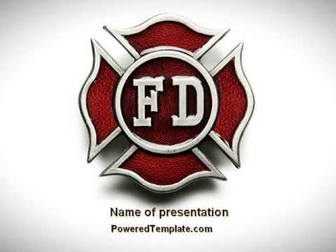 fire department badge powerpoint template by poweredtemplate com