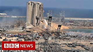 Aerial footage shows aftermath of Beirut blast - BBC News