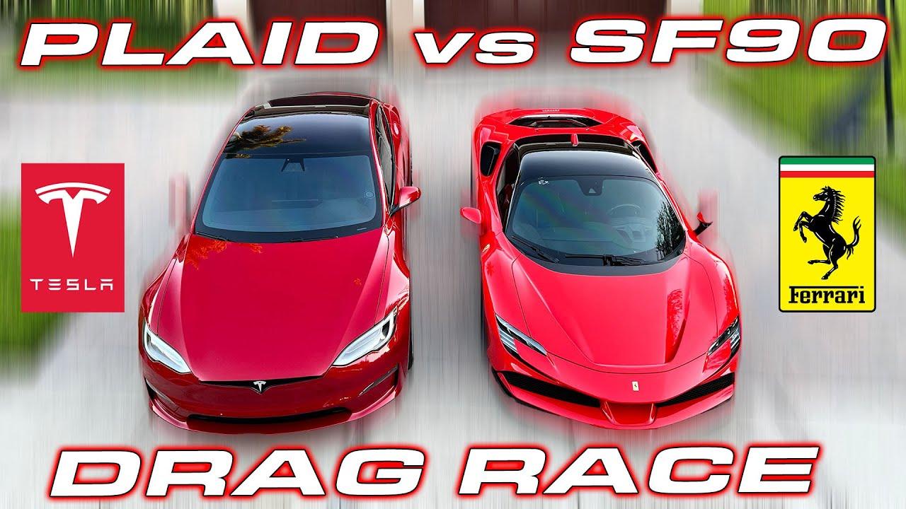 Download 1,000 HP BATTLE * Ferrari SF90 vs Tesla Plaid DRAG RACE