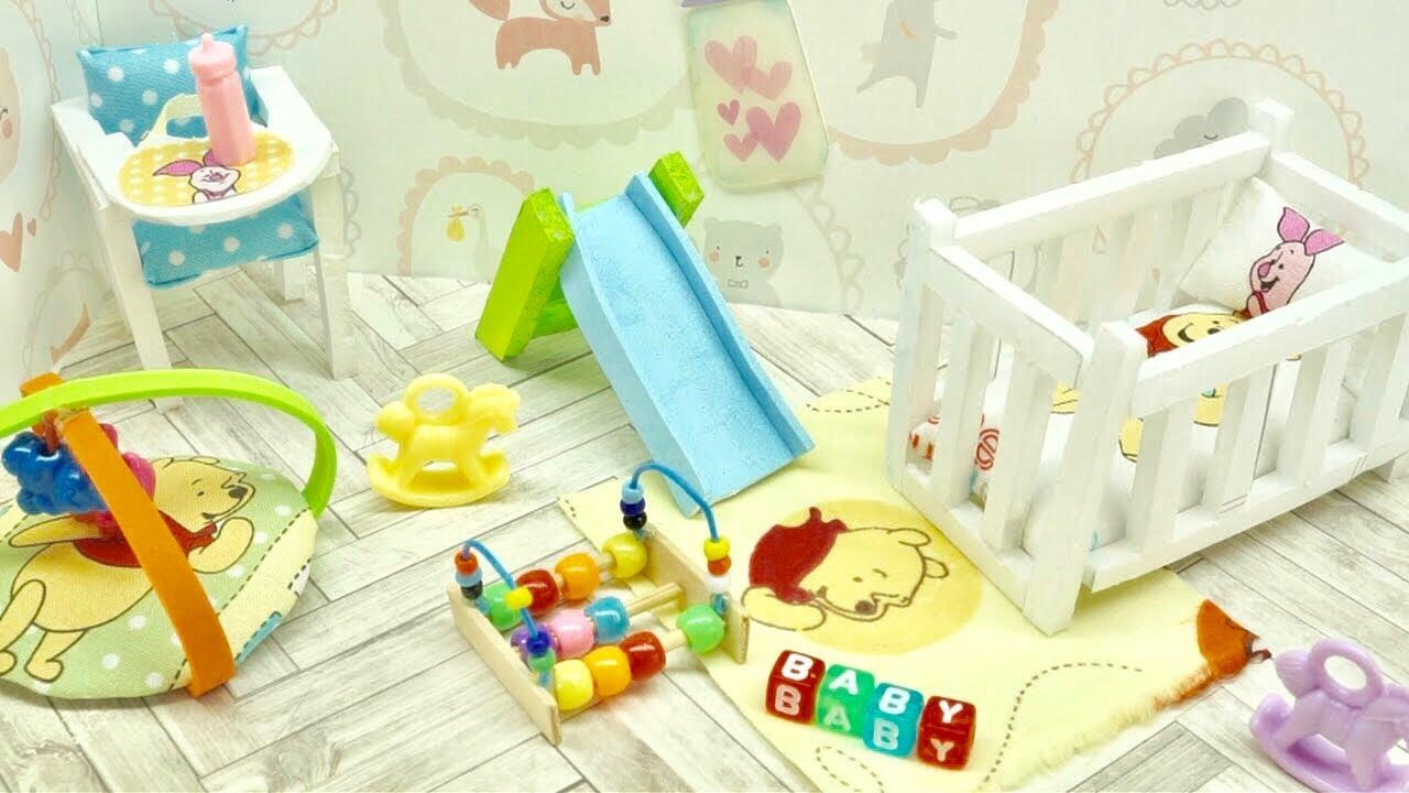 Diy Miniature Disney Pooh Nursery Baby Room Crib Toy High Chair