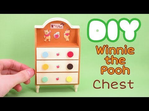 DIY Miniature  Winnie the Pooh chest ~Using Paper and Cloth くまのプーさんチェスト