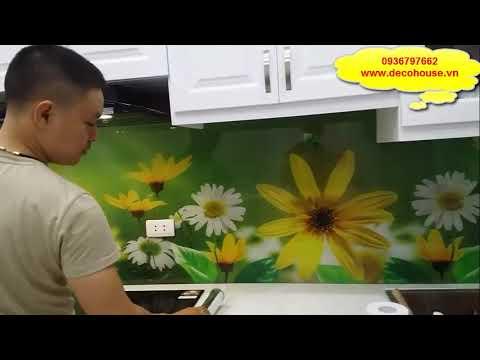 Kính ốp bếp - Thi công kính ốp bếp 3D, kính ốp bếp hoa văn tại Hà Nội