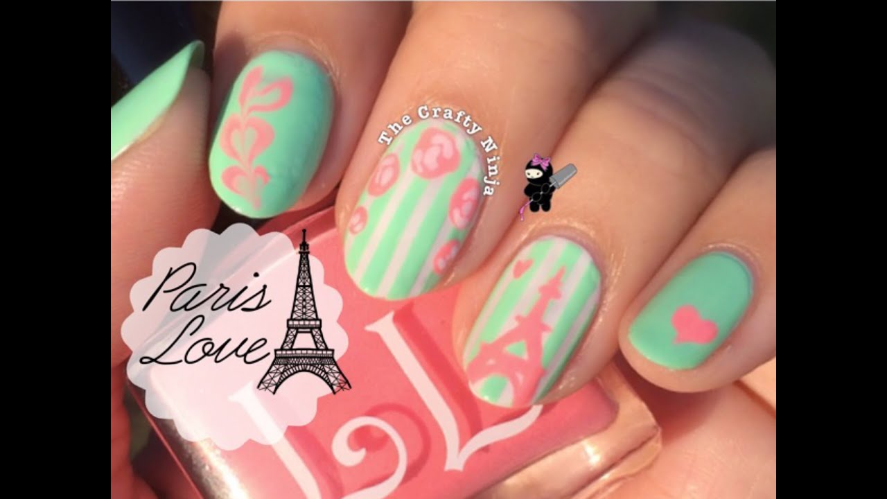 Paris Eiffel Tower Vintage Rose Nail Art by The Crafty Ninja - YouTube