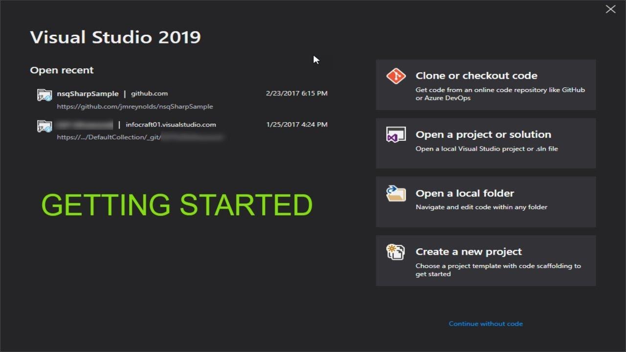 Visual Studio 2019 (Getting Started)