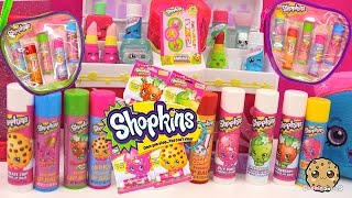 4 flavored shopkins lip balm single packs and 2 zip cases with 5 scented lipbalms cookieswirlc