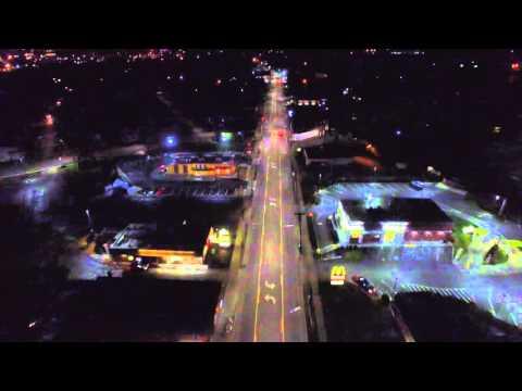 DJI Phantom3 Pro: Above Binghamton NY. Night Flight down main street