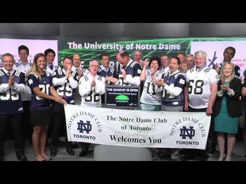 The University of Notre Dame opens Toronto Stock Exchange, June 3, 2014.