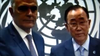 فيديو هام جداُ وبدون تعليق :بهذه الطريقة الأمين العام للأمم المتحدة يستقبل وزير الخارجية المغربي
