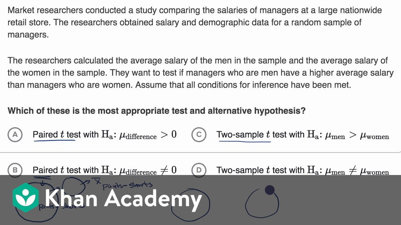 Hypotheses for a two-sample t test (video)  Khan Academy