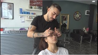 ASMR Turkish Barber Face, Head and Back Massage To Female 304