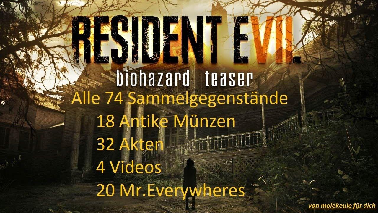 Resident Evil 7 Sammelgegenstände Antike Münzen Akten Videos Mr