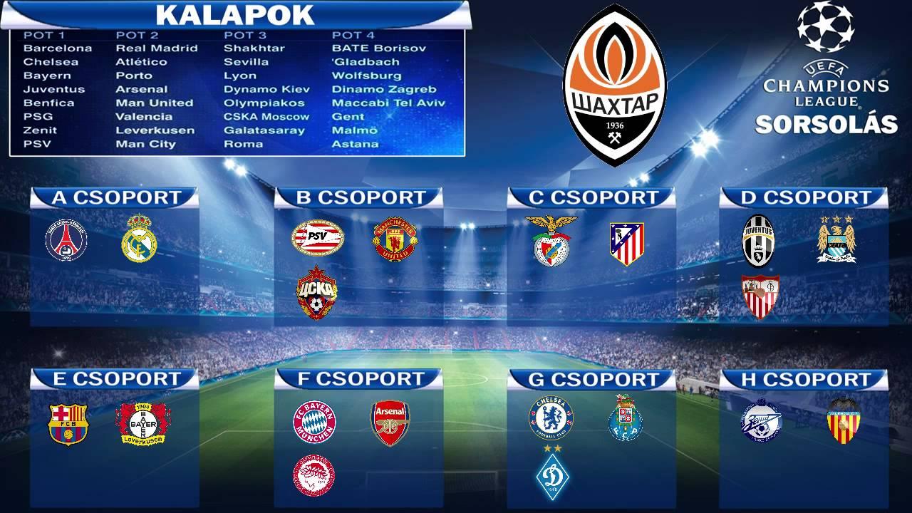 bajnokok ligája menetrend
