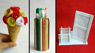 3 ideas of newspaper craft   teacher's day craft   best out of waste craft idea   #HMA442