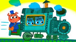 Котики, вперед! - Чух-чух ням-ням - серия 46 - мультик про паровозик для детей