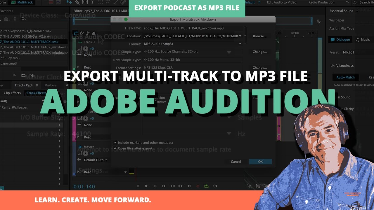 How To Export Podcast As  mp3 file in Adobe Audition