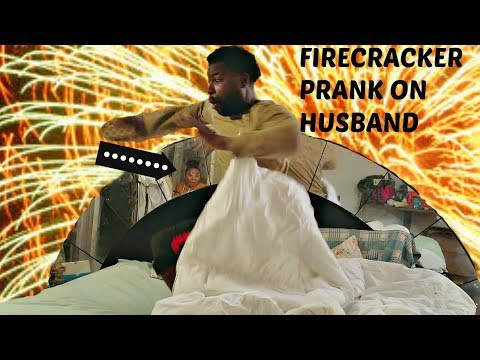 FIRECRACKER AND HOT SPAGHETTI NOODLE PRANK ON HUSBAND!!! (HE ALMOST CRIED)