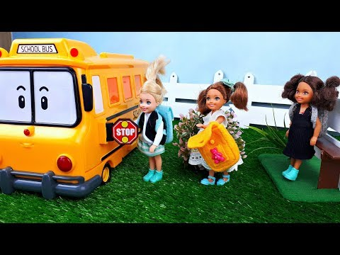 Barbie girls school morning routine  - Go to school by school bus
