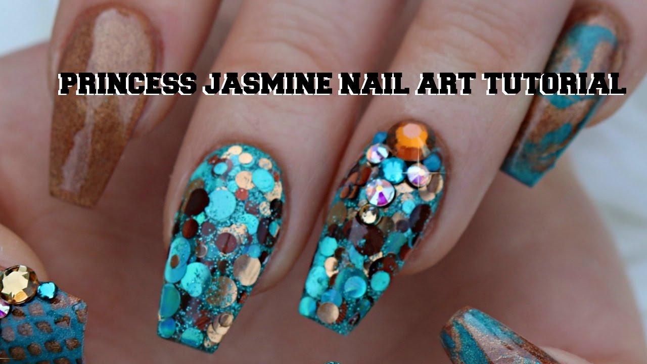 PRINCESS JASMINE NAILS - YouTube