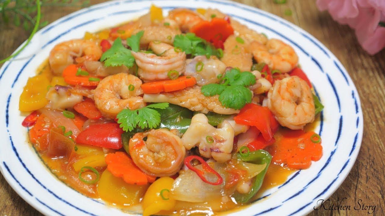 ឆាជូរអែមគ្រឿងសមុទ្រ [Sweet Sour Seafood Stir Fry][Kitchen Story]