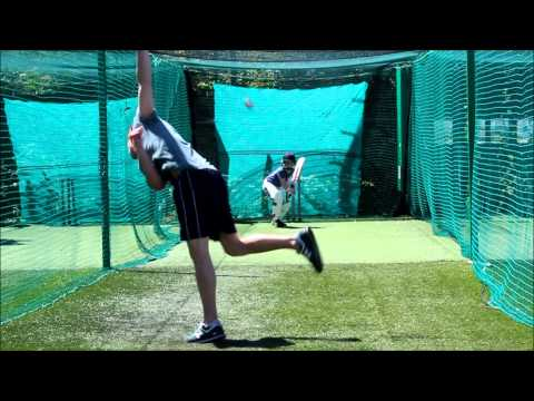 Cricket nets 11 year old brother facing some bowling and sidearm