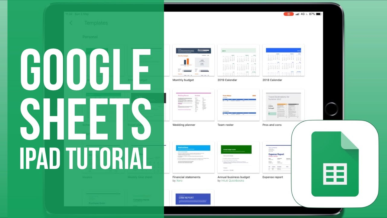 Google Sheets for iPad Tutorial 2019