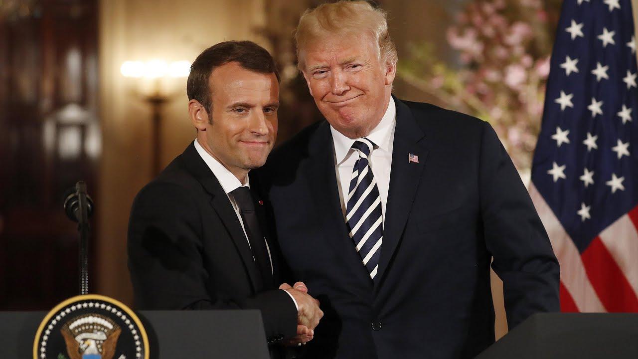 Trump And Macron Share An Awkward Handshake And A Kiss Youtube