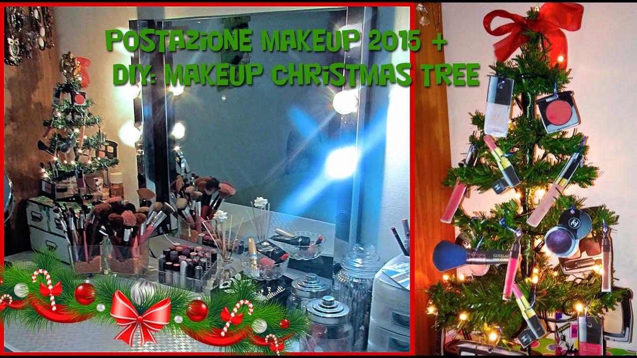 DIY Makeup Christmas tree + Makeup Station 2015