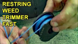 How to restring dual-sided spool lawn weed eater trimmer with 2 strings thumbnail