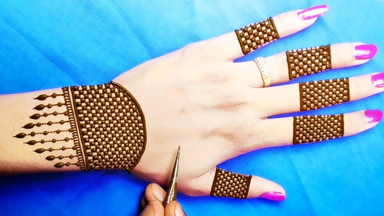 Download very easy back hand checks mehndi design-आसान मेहंदी लगाना सीखें-easy back hand stylish Arabic henna