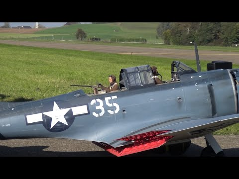 3xHuge R/C Warbirds in Action SBD-5 Dauntless,Trojan T-28 and a Corsair F4U Hausen 2015