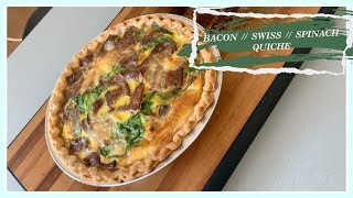 Bacon Cheese & Spinach Quiche Breakfast│How to│Step-by-Step