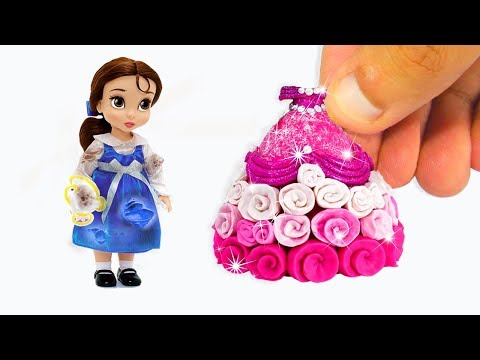 DIY Disney Princess BELLE Dress Up Play Doh 💖 DISNEY DOLL DRESS UP