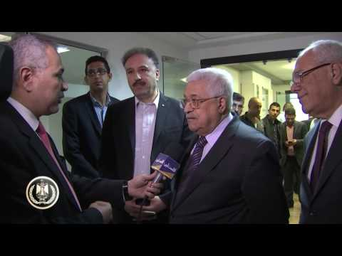 President Abbas tours the Palestine Radio and TV Corporation