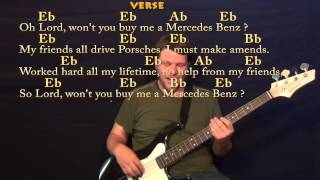 Mercedez Benz (Janis Joplin) Bass Guitar Cover Lesson with Lyrics / Chords