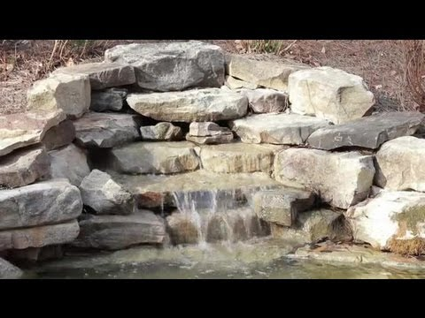 landscaping design with waterfall