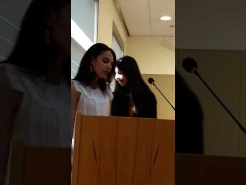 Students reciting sonnets at Armenian Shakespeare Conference