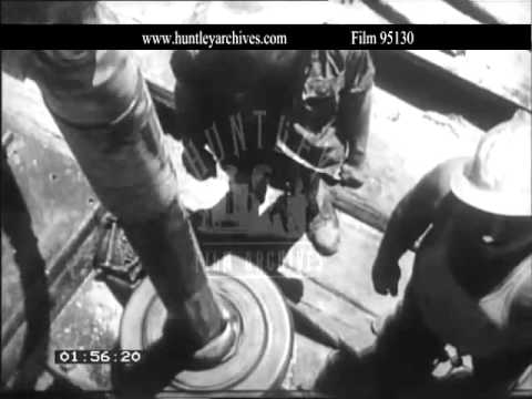 Israeli oil drilling, 1950's.  Archive film 95130