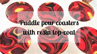 147 - Acrylic Puddle Pour - black, red and gold coasters with resin top coat