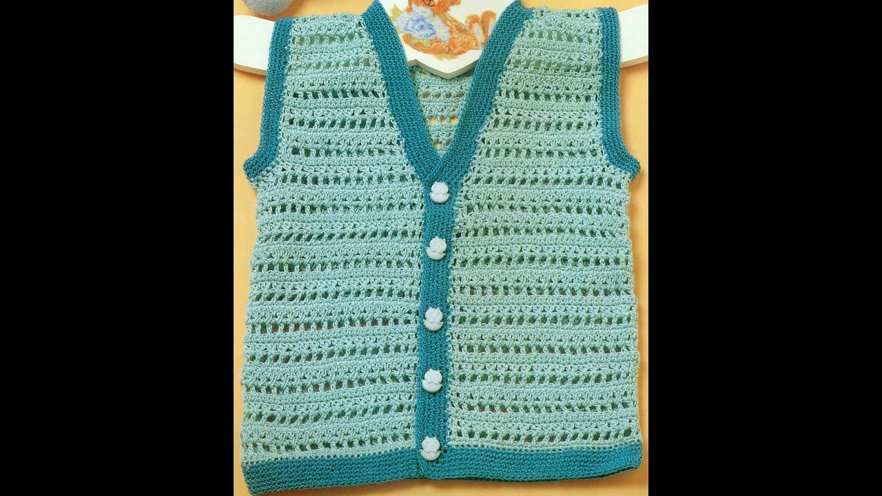 Patrón para tejer chaleco para bebé a ganchillo - YouTube