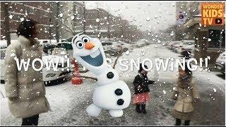 눈 이다. 눈사람 울라프 만들기와 눈썰매 대결. 원더키즈tv의 겨울이야기