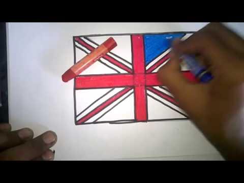 how to draw Natonal Flag of British United kingdom