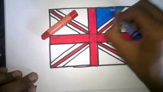 how to draw Natonal Flag of British United kingdom