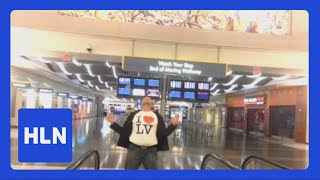 Guy stranded in airport recreates Celine Dion music video